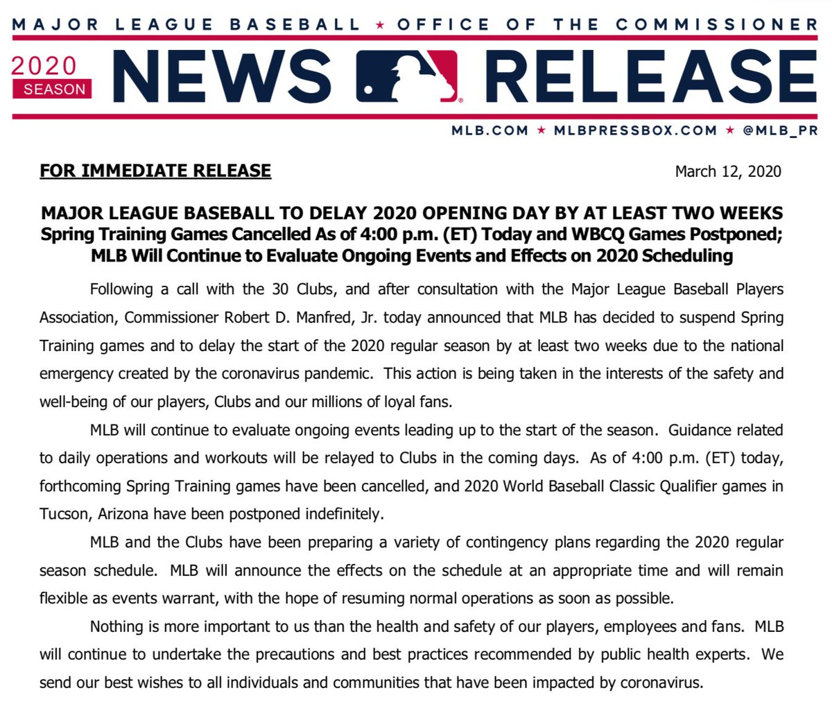 Statement from Major League Baseball: