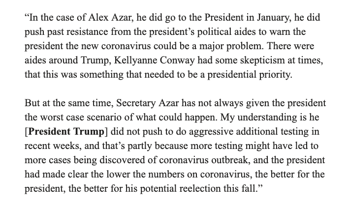 @ddiamond A previous tweet of this quote did not make it adequately clear that it is Trump who did not push for adequate testing, not Secretary of Health and Human Services Azar. Here is the whole quote for context.  @ddiamond
