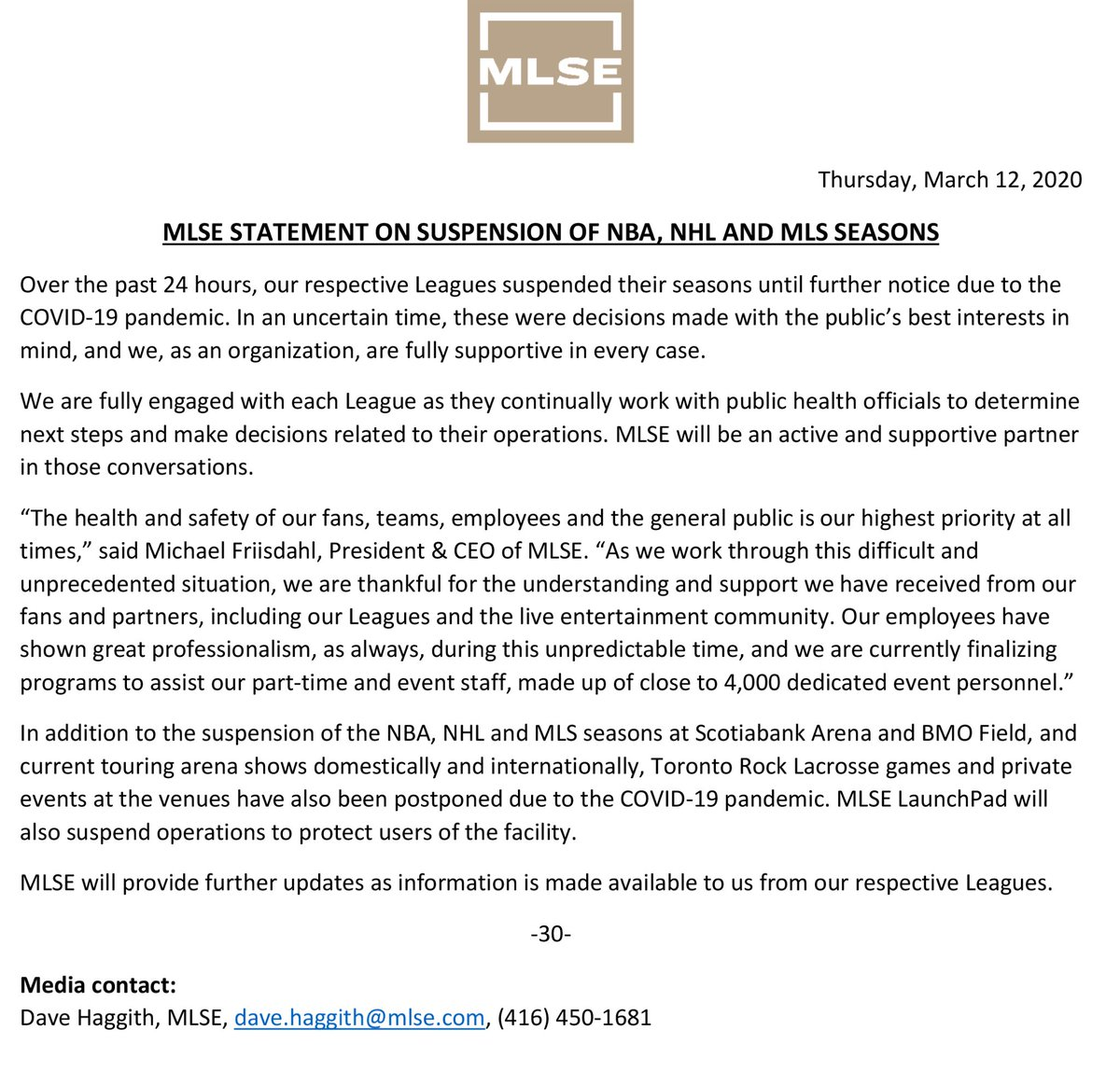 MLSE statement on suspension of NBA, NHL and MLS seasons.
