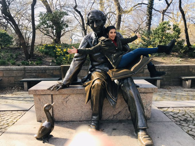 Always happy when I'm on my favorite statue! In @CentralParkNYC #hanschristiansenstatue! I've been doing