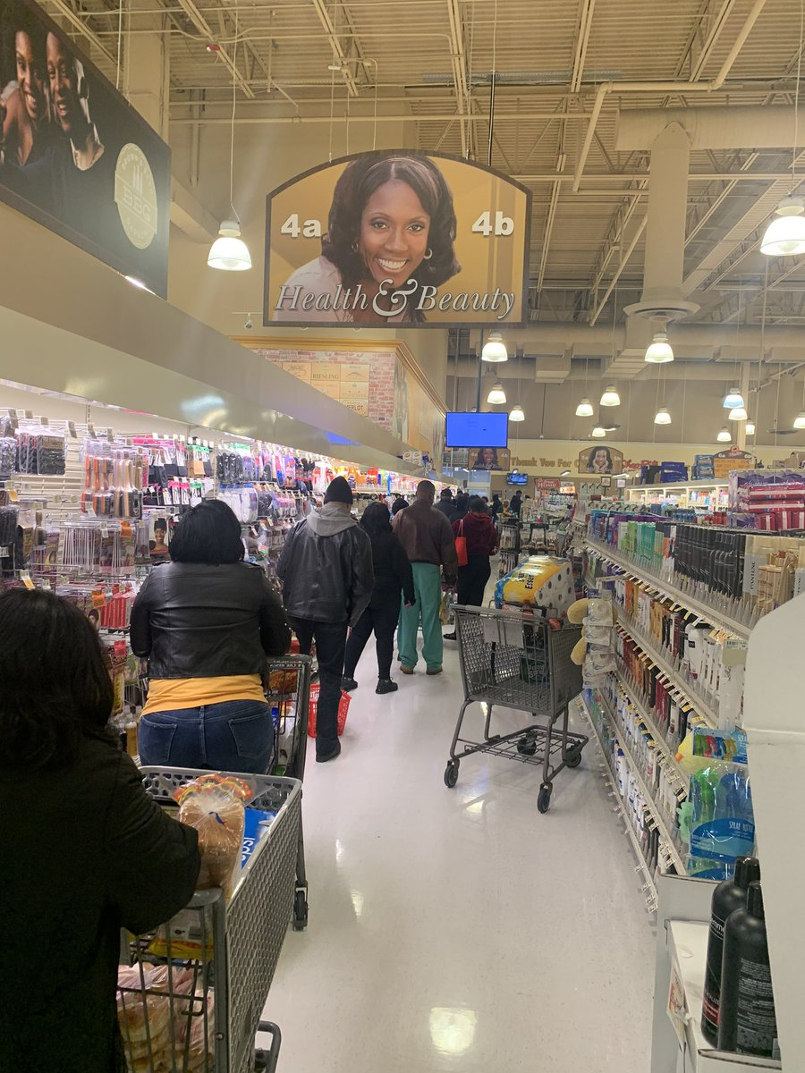 The line for self checkout at shoprite on Fox Street....