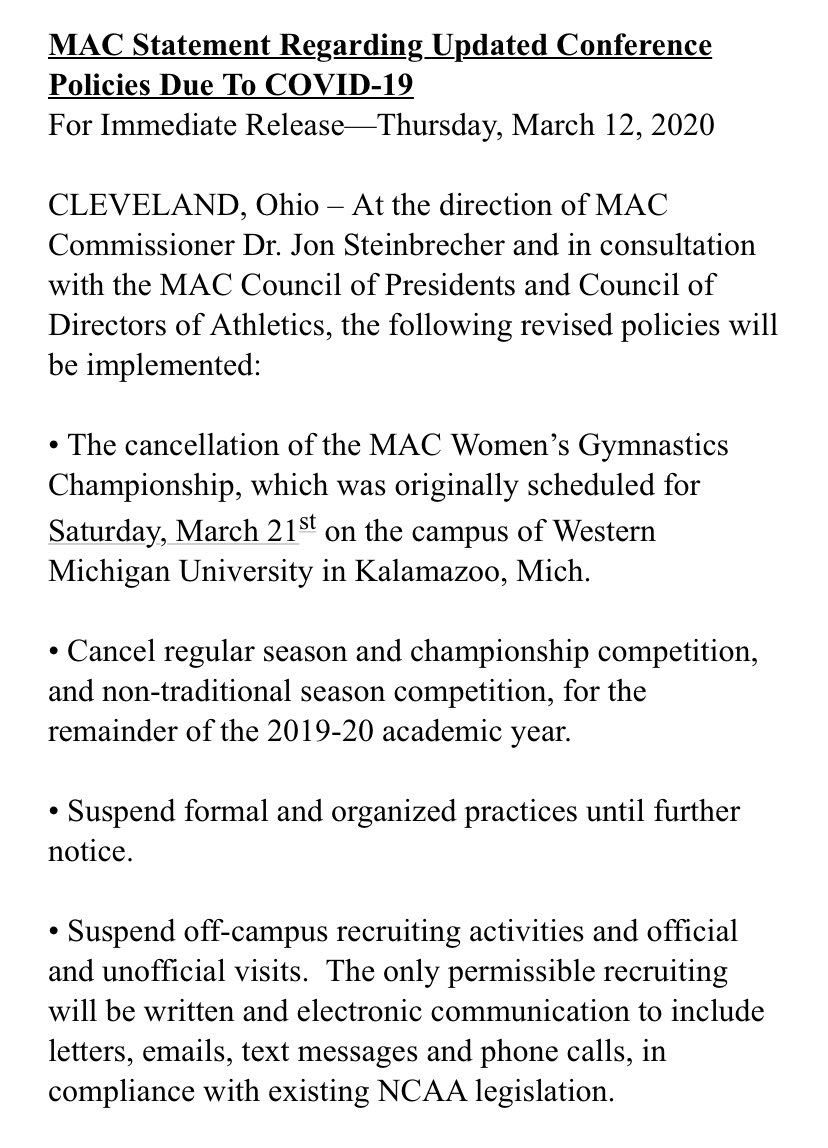Official.  MAC Statement Regarding Updated Conference Policies Due To COVID-19 https://t.co/EsEc6fTP67