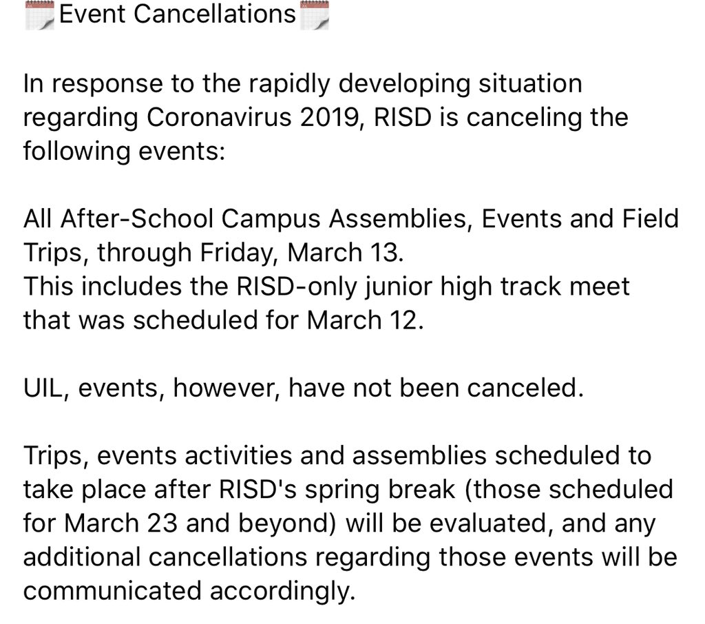 Event Cancellation Update:
