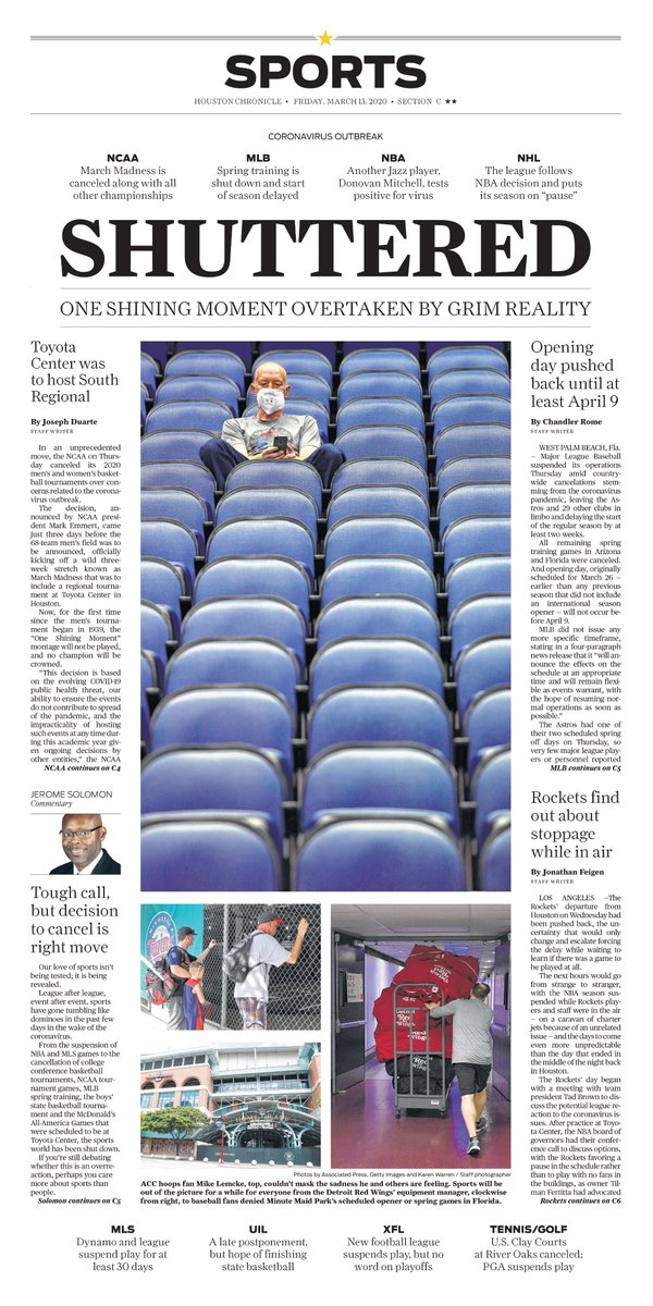 Friday's @HoustonChron Sports cover // Shuttered: One shining moment overtaken by grim reality https://t.co/AWZbf5EQ9p
