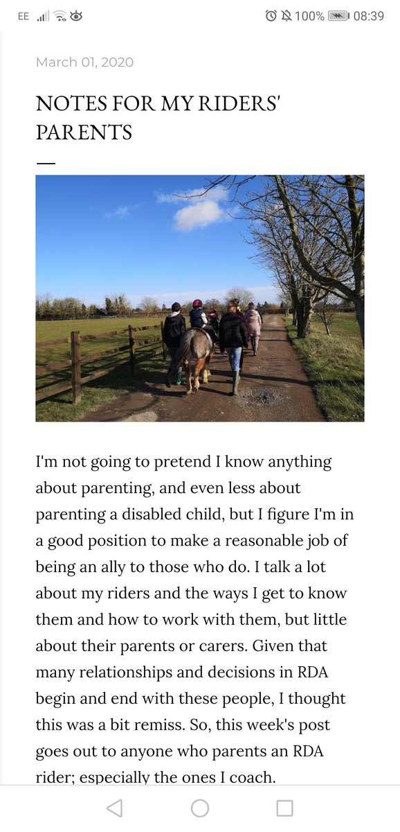 NEW THIS WEEK ON INDIA'S BLOG  One for the parents/carers of @RDAnational participants... https://www.rdacoachindia.co.uk/2020/03/notes-for-my-riders-parents.html?m=1 …  #EquestrianBlogger #EquineBlogShare #RidingfortheDisabled #OnTheBlog #DisabilityTwitter #DisabilityParentingpic.twitter.com/KBAJiyzTxW