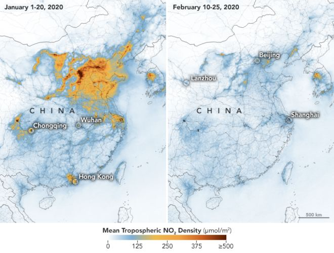 すごい。コロナウィルスによる中国の経済活動の低迷によって、大気汚染が劇的に改善しているというNASAのデータ。 1月と2月の比較。かつてこれ程までに急激に状況が改善した例は前例がないとの事 Coronavirus: Nasa images show China pollution clear amid slowdown