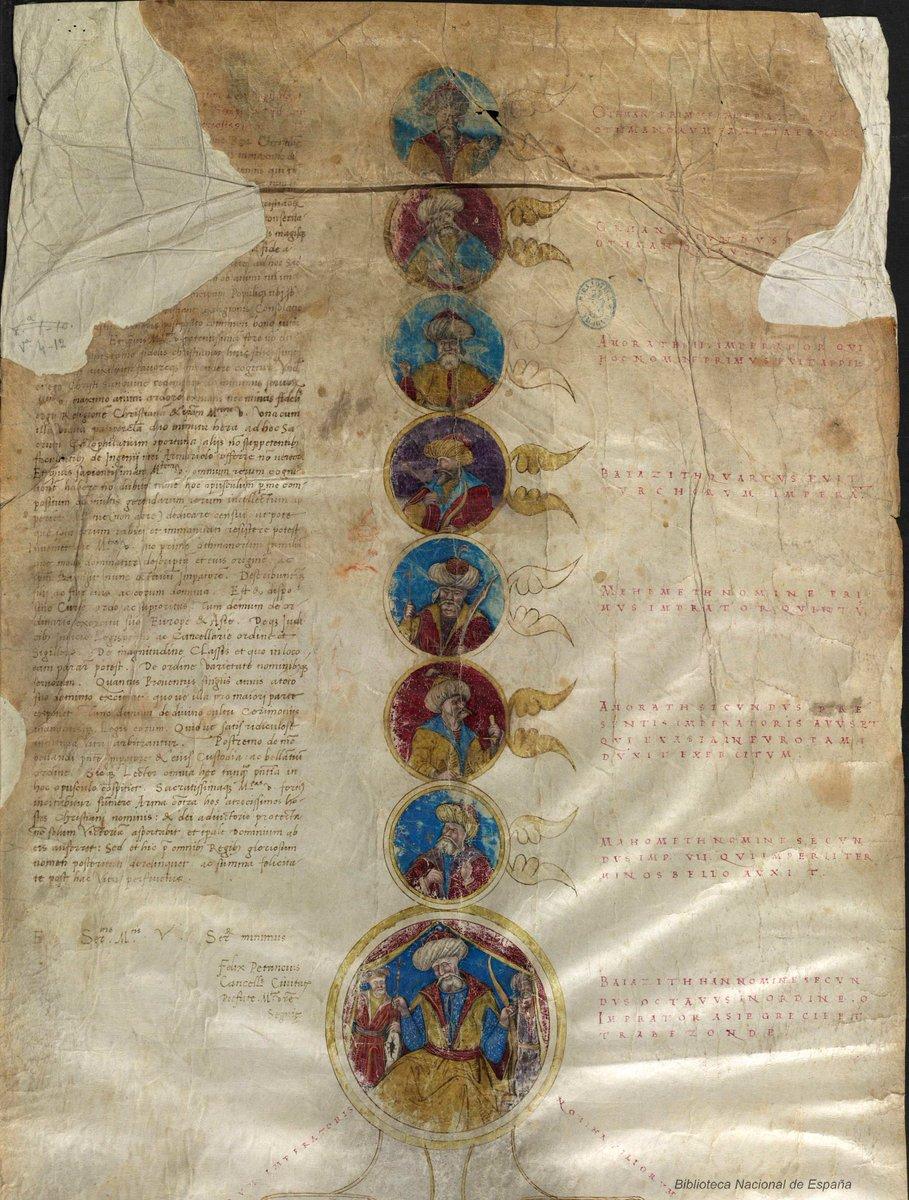 İspanya Devlet Kütüphanesi'nde karşılaştım, Genealogia Turcorum Imperatorum: II. Bayezid'e kadar Osmanoğulları şeceresi ve divan/askeriyeyle alakalı temel bilgiler https://t.co/bOWpvRzpVd