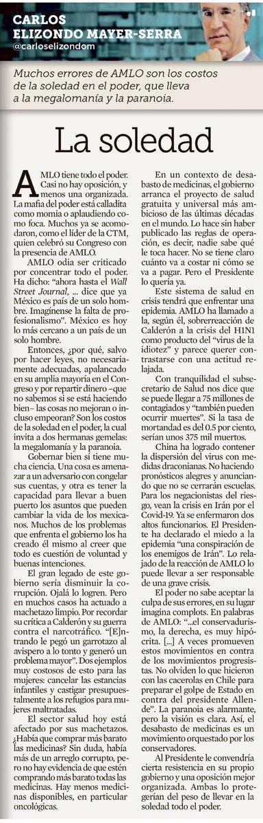 La columna de @carloselizondom en @Reforma