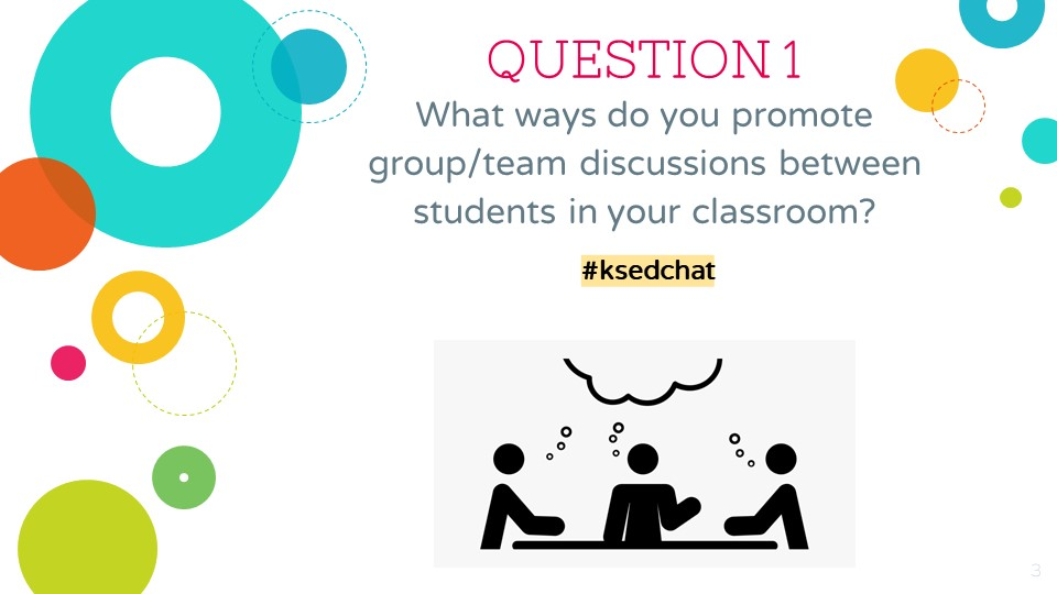 QUESTION 1: What ways do you promote group/team discussions between students in your classroom? #ksedchat