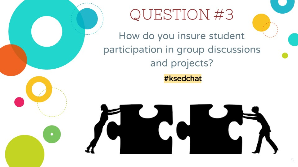QUESTION 3: How do you insure student participation in group discussions and projects? #ksedchat