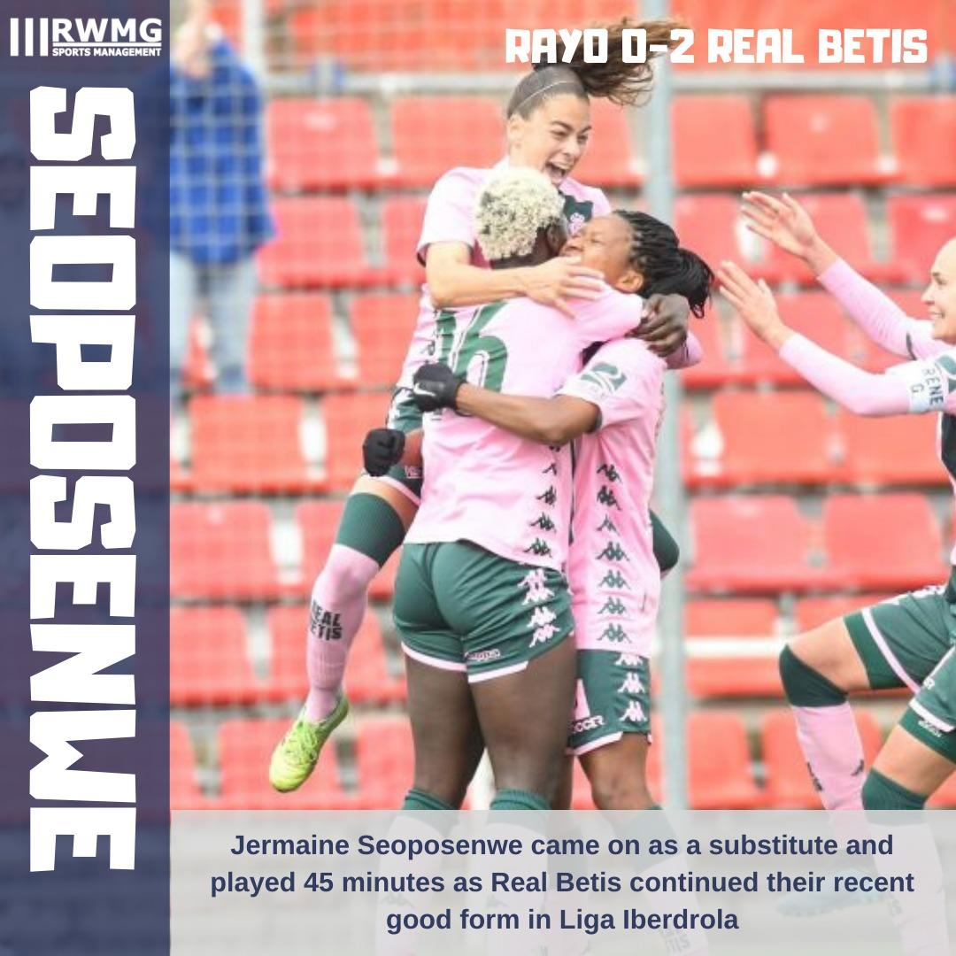 RESULT: Rayo Vallecano 0-2 @RealBetisFem  A good outing from @jermaine109 in Liga Iberdrola as Betis continue their fight against relegation.  Well done Jermaine! 🇿🇦 https://t.co/cIzCH1HOez