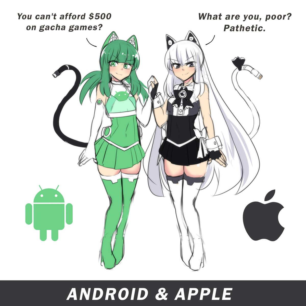 Merryweather Comics On Twitter Android Apple As Cute Anime Girls