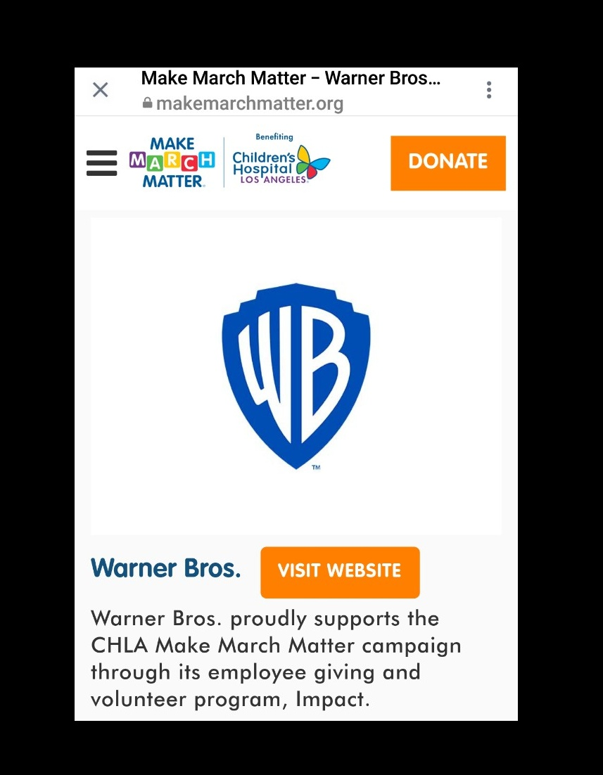 #MakemarchMatter Love that my company @warnerbros @WBCareers #wbimpact is a partner with @ChildrensLA @makemarchmatter  _______________________ #wblife #wbgood #wbimpact #childrensla #SocialGood #wegotthis #aloha #bethechange #makeadifference #positivevibes