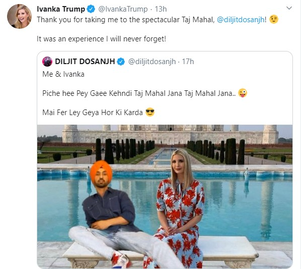 First India On Twitter Singer Actor Diljitdosanjh Shared An Image Of Himself Sprawled Next To Ivanka Trump With The Majestic Taj Mahal In The Background The Image Inspired Several Photoshop Enthusiasts Ivankatrump Tajmahal