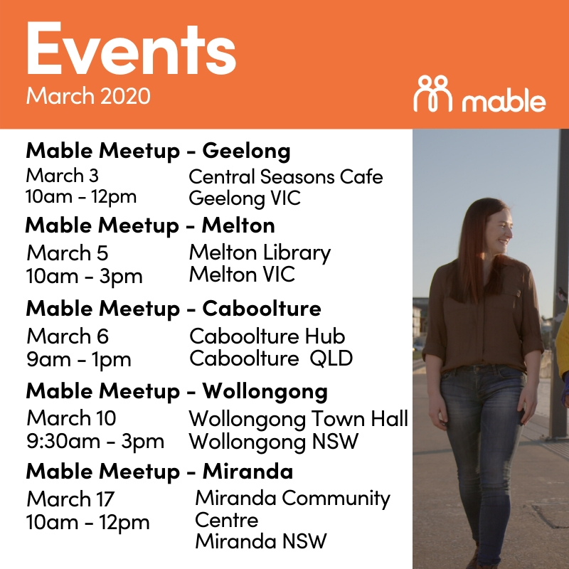Visit the Mable team in the community this month!  Throughout the month of March, you'll be able to meet our team, learn more about Mable and have your questions answered at any of these events!  To find out more, click here: https://t.co/cZip1gUEXE https://t.co/pSnK4awg7z