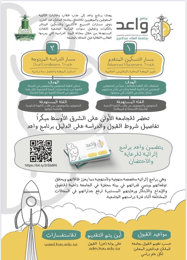 تعلن #جامعه_الملك_عبدالعزيز عن  برنامج استقطاب ورعاية الطلبة المتفوقين والموهوبين (واعد)   1- مسار التسكين المتقدم 2- مسار الدراسة المزدوجة  للمزيد  https://waed.kau.edu.sa/Default-210996-AR  #تدريب #جدة_الان #توظيف #وظيفة #وظائف_جدة