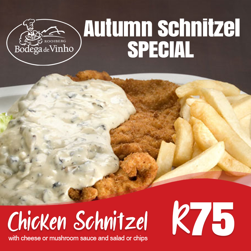 Rooiberg On Twitter Don T Miss Out On This Mouth Watering Offer Visit The Bodega For A Crumbed Chicken Schnitzel With Cheese Mushroom Sauce And Some Salad Or Chips Only R75 Until 30th