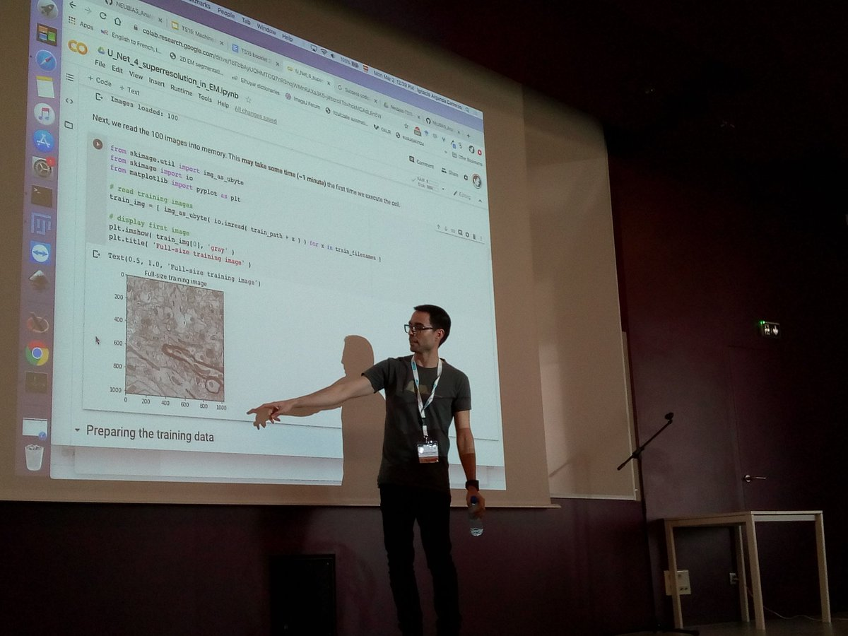 Just discovered #GoogleColab thanks to @IgnacioArganda and @gomez_mariscal during #neubiasBordeaux #TS15, an interesting tool when giving trainings requiring important computational resources (here training a #NeuralNetwork). https://t.co/WKqVrEsaUR