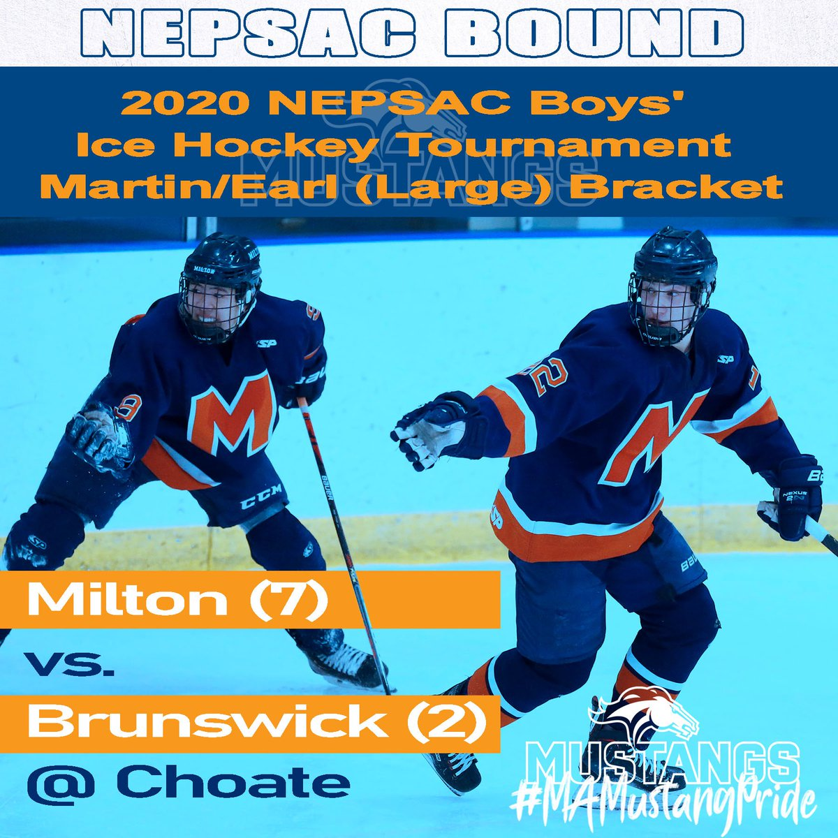 #7 @MiltonAcad_puck vs. #2 @WickPuck Wednesday March 4th 5:00PM at Wesleyan University!
