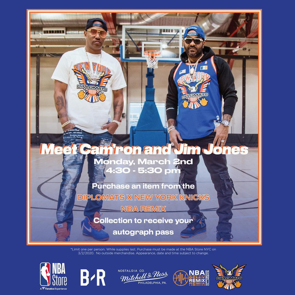 TODAY, 3/2 at the @NBASTORE!  Meet @Mr_Camron and @jimjonescapo when you purchase an item from our Diplomats @mitchell_ness x @BleacherReport #NBARemix collection.
