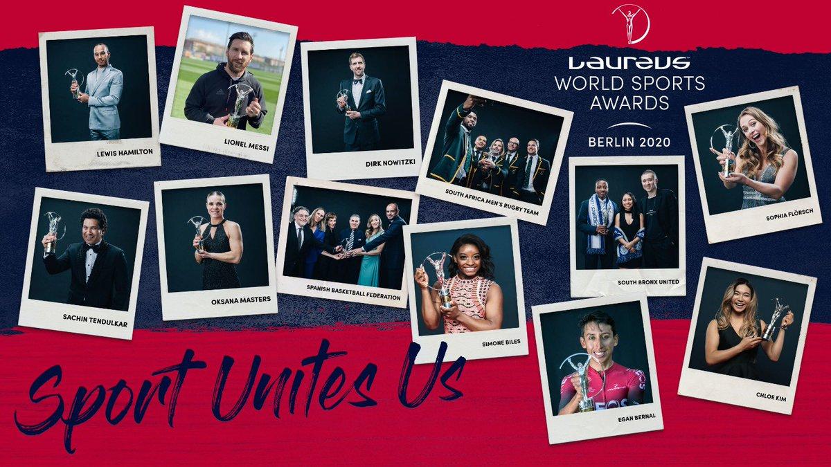 🏆 @LewisHamilton & Leo Messi ⚽🏎 🤸♀ @Simone_Biles 🏆 🏆 @Springboks 🏉  🚴♂ @Eganbernal 🏆 🏆 @SophiaFloersch 🏎  🏂 @ChloeKim 🏆  🏆 @OksanaMasters ⛷ 🏏 @sachin_rt 🏆 🏆 @SBronxUnited ⚽ 🏀 @swish41 🏆 🏆 @BaloncestoESP 🏀  🙌 Class of #Laureus20 😍  #SportUnitesUs