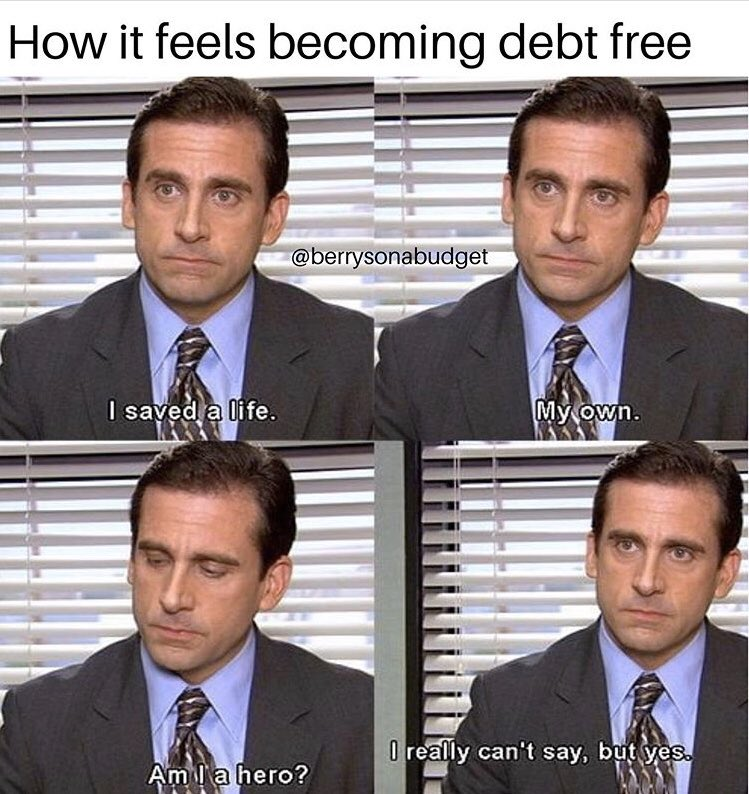 this is great. How many of you have paid off a debt?! How does it feel?  If debt payoff is something you struggle with, I can help! Grab a copy of Money Honey: https://amzn.to/2sw6rmE   #moneyhoneyrachel #debtpayoff #debtfreegoals #debtsnowball #theofficememes #moneymemes pic.twitter.com/CZVr6x2RWc
