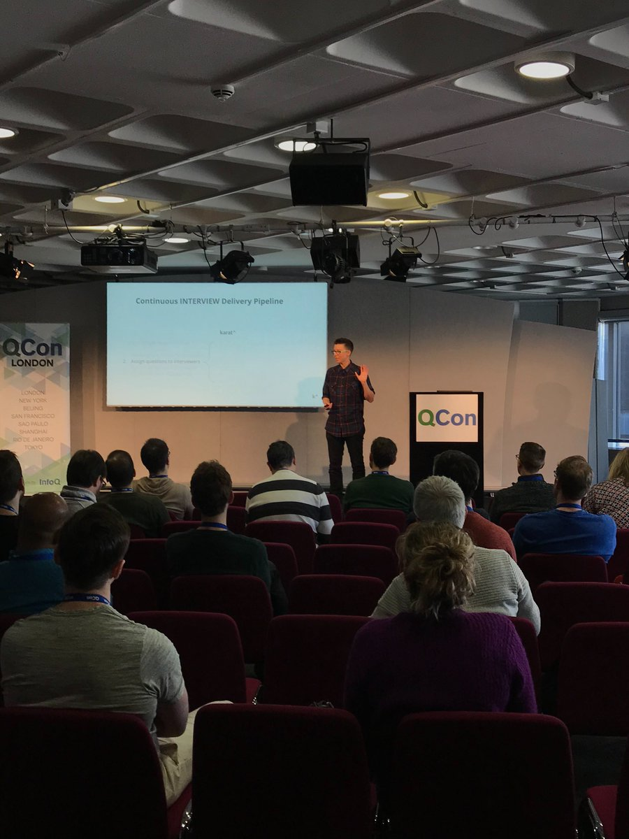 'The right answers to the wrong questions waste everyone's time.' @staycalmcomic delivered the pillars of creating predictive technical interviews today at #QConLondon #interviewengineering