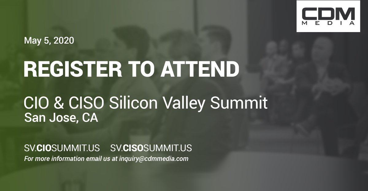 Registration is now open for our Silicon Valley CIO and CISO Summit this May in San Jose. Join us >> https://t.co/JuWWSWcz3G #CISO #CIO #CISOSV #CIOSV #SiliconValley #CybersecuritySummit #innovationsummit https://t.co/PD88CY0sbI