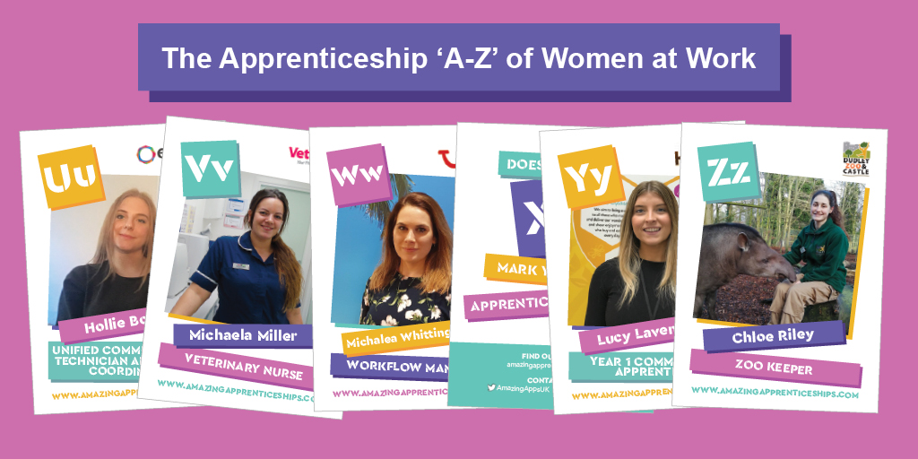 Last but not least is our 'U-Z', five amazing female #apprentices: Hollie, Michaela M , Michaela W, Lucy and Chloe! Download 'The Apprenticeship A-Z of Women at Work' free digital resource for schools to find out more: https://t.co/Dg7HX6HaED   #AmazingAtoZ #NCW2020 #IWD2020 https://t.co/CPUg1r602u