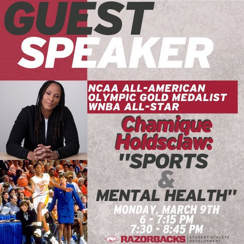 "We are so excited for you to join us on March 9th to hear from @Chold1 on her journey with ""Sports & Mental Health"" ‼️ Mark your calendars 🗓 • • •  #onerazorback #razorbackready https://t.co/TAzf5dEqef"