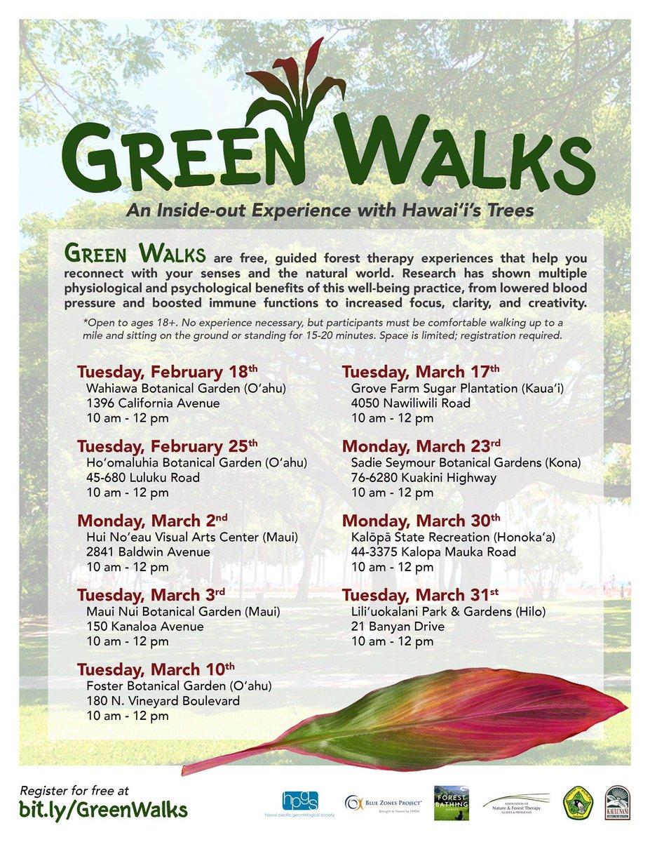 Join us for Green Walks, a free forest bathing experience led by Hawaii's first certified forest therapy guide. Participants will learn about the healing properties of green spaces and leave with simple ways to strengthen their connection with the natural world. #Maui #Hawaii https://t.co/Z4dA6AyUNy