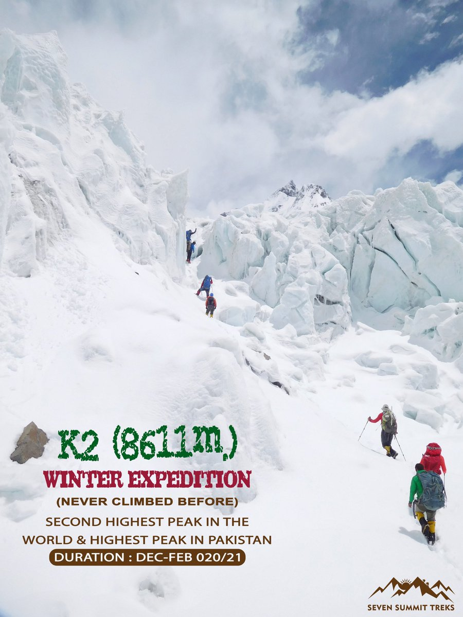 Yes, we are announcing K2-Winter Expedition in 2020/21 Winter!  MT K2 🏔 never climbed before in Winter!   >> Team of 6 veteran Sherpas and International members will be a part of this expedition<<  #K2WinterExpd. #sst #sevensummittreks #winterk2 #baltoro #Pakistan #Sherpas