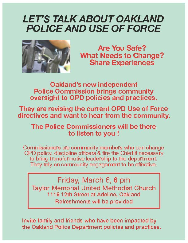 Use of Force by OPD - Town Hall @ Taylor Memorial Church