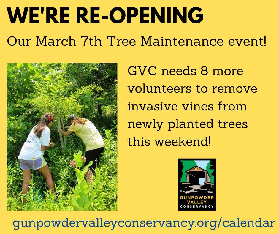 Outdoor volunteer opportunity this weekend! gunpowdervalleyconservancy.org/calendar