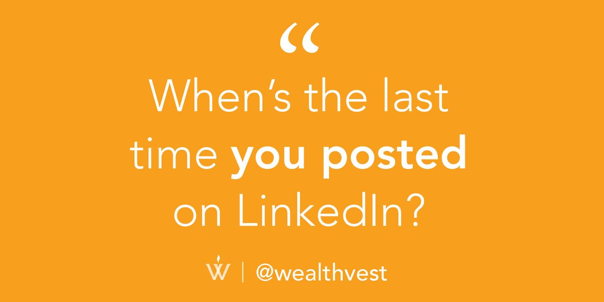 Posting on LinkedIn is important. It helps you -Stay top-of-mind -Establish credibility -Personify your brand -Mass communicate with your followers  Not sure where to get started? Contact your WealthVest wholesaler and ask for our PDF on How to Write LinkedIn Captions. https://t.co/kOgvCJzlts