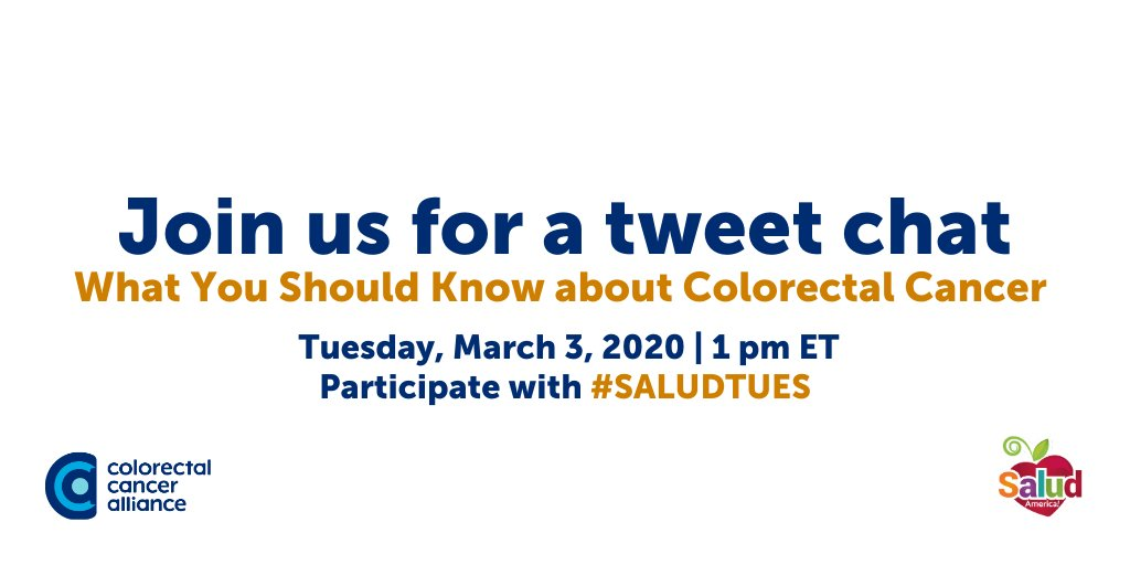 Colorectal Cancer Alliance On Twitter Join Us For A Tweet Chat With Saludamerica On What You Should Know About Colorectalcancer Tomorrow At 1 Pm Et Saludtues Https T Co U6ogrffm75