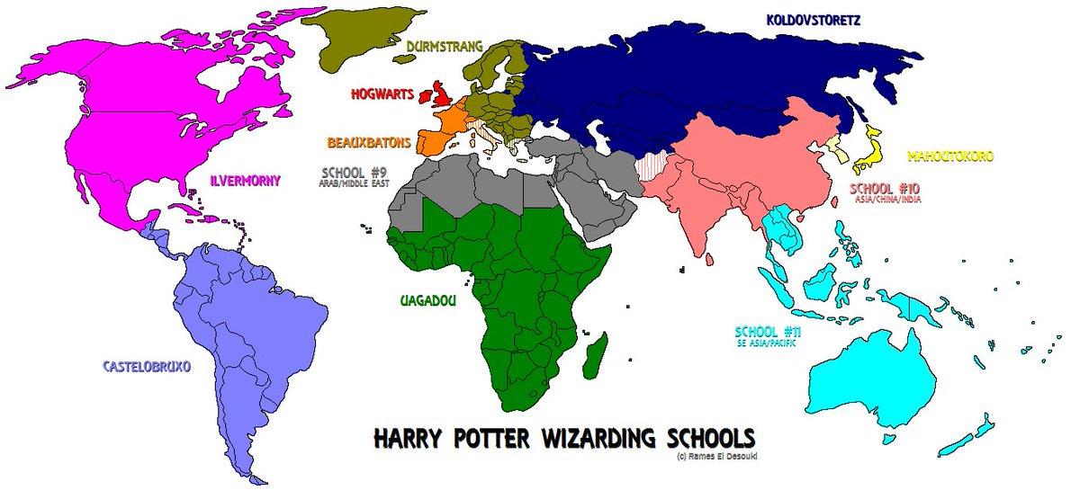 "Terrible Maps on Twitter: ""Harry Potter wizarding schools #Map ..."