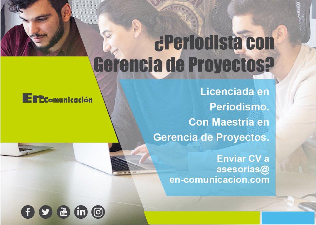 Si es Licenciada(o) en Comunicación y cuenta con una Maestría en Gerencia de Proyectos por favor envíenos su CV a asesorias@en-comunicacion.com 👊 #Jobs #trabajos #periodismo #CostaRica https://t.co/knj8U724dU