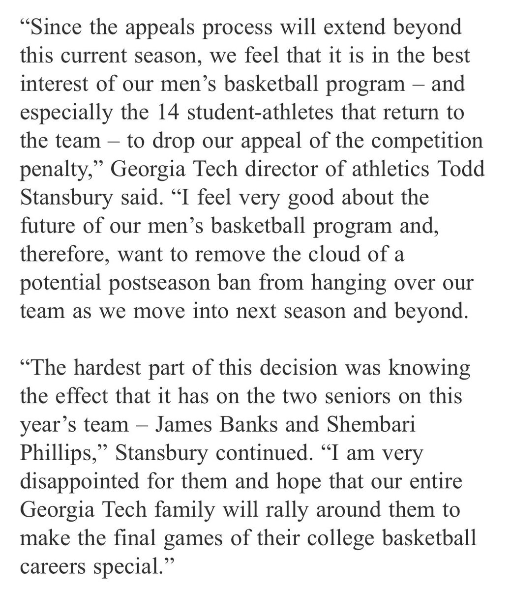 Official statement from Todd Stansbury