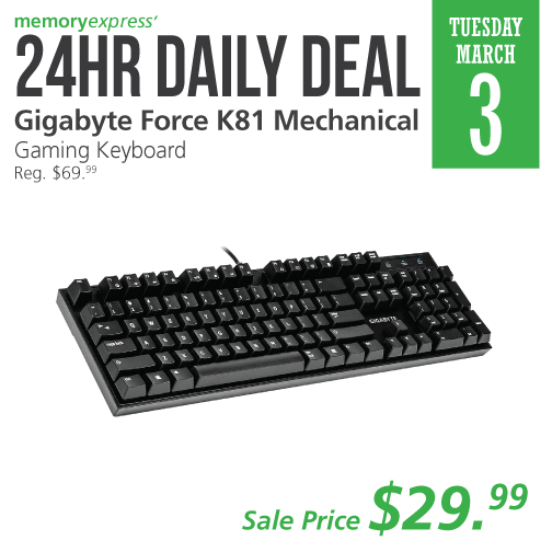 #24hrDailyDeal: This @GigabyteGaming Force K81 Gaming Keyboard uses new Gaming Red Mechanical Key Switches in a serious Gaming Keyboard at a very low price. Get it today on our 24hr Daily Deal and Save 57% off!  http://bit.ly/3coZmq6pic.twitter.com/ZgmVD1po6O