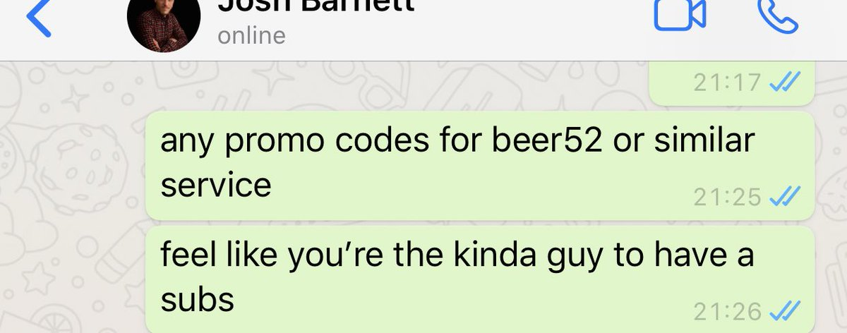 life hack: if you're looking for a promo code, just type the company into whatsapp... I whatsapped my friend asking for his referral code, whilst i waited for him to reply i opened instagram and refreshed, and BAM thank me later