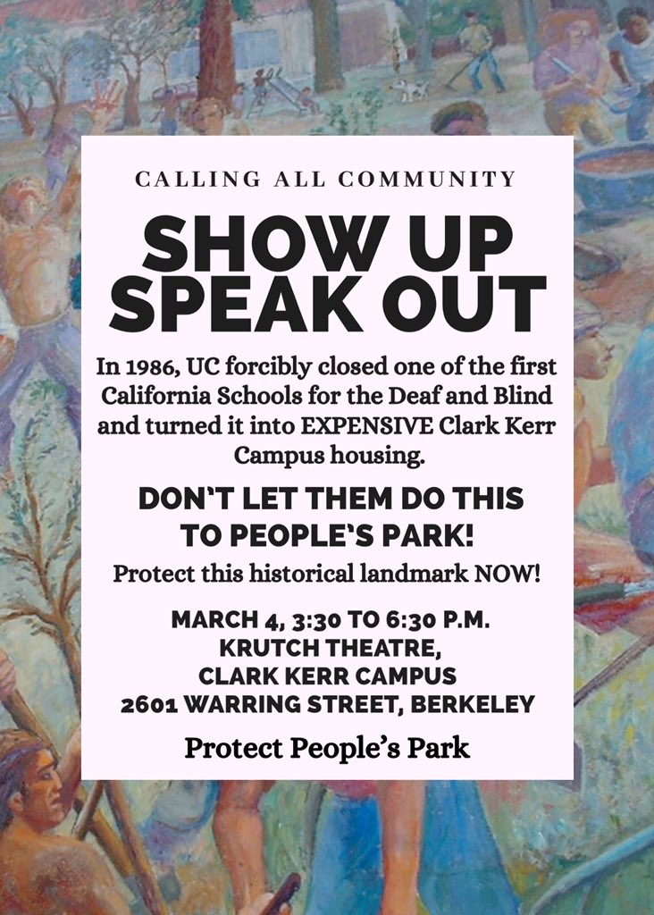 Support People's Park @ Krutch Theater, Clark Kerr Campus