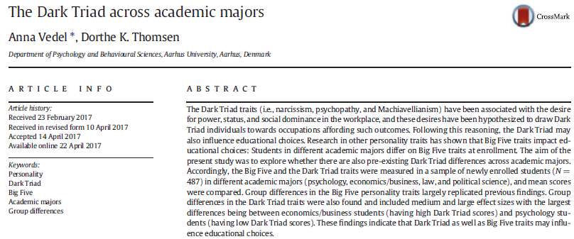 Personality tests reveal that undergrads who choose economics score unusually highly on the Dark Triad of narcissism, psychopathy and Machiavellianism.  Perhaps this is the argument that economics needs to work to attract broader and more diverse students. https://t.co/cfbGn9itXh https://t.co/rQAyOFmDHv