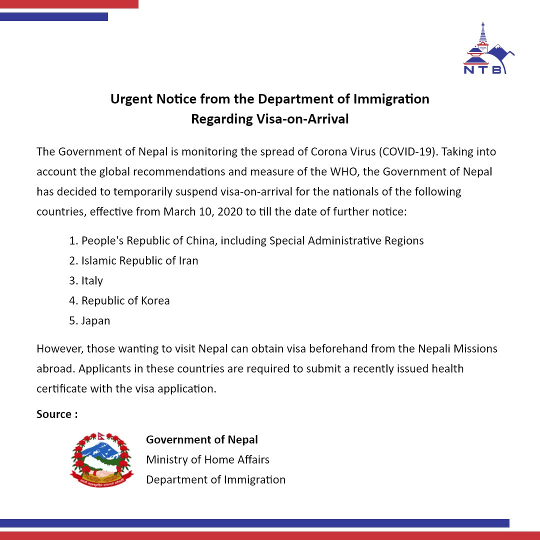 Notice from Department of Migration