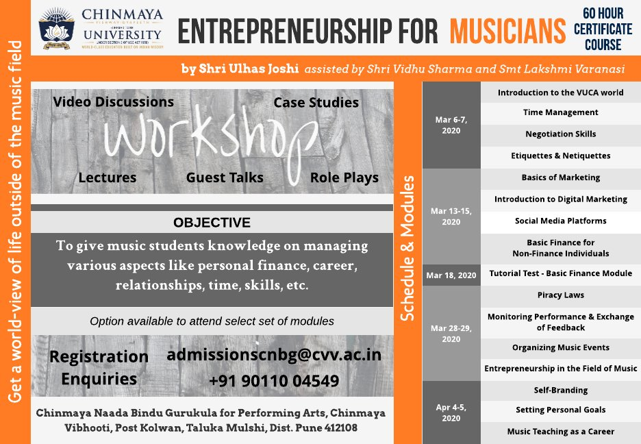'Upcoming musicians who'll thrive in today's economy will most often do so owing to a combination of their musical and entrepreneurial skills.' Don't miss this opportunity to develop your entrepreneurial skills through this unique programme, Entrepreneurship for Musicians …/1