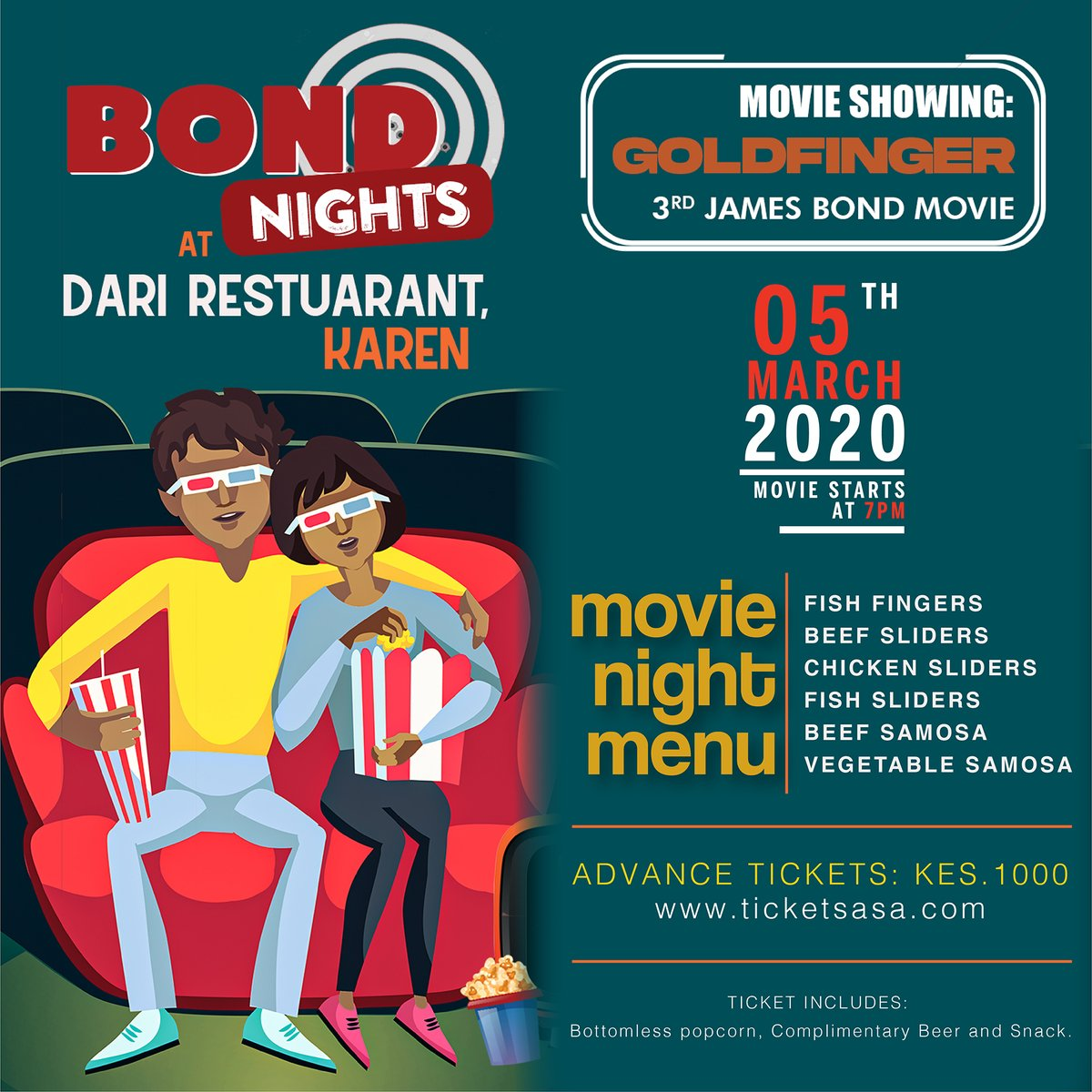 2 days to go! #Bondnights at #Dari. Get your ticket today from @ticketsasa for the showing of #JamesBond's #Goldfinger on Kenya's largest outdoor screen.   Kes.1000, gets you a Ticket, Bottomless popcorn, Complimentary Beer and a Snack.  #DariRestaurant – 165 Ngong Road, Karenpic.twitter.com/omYRDMObZS