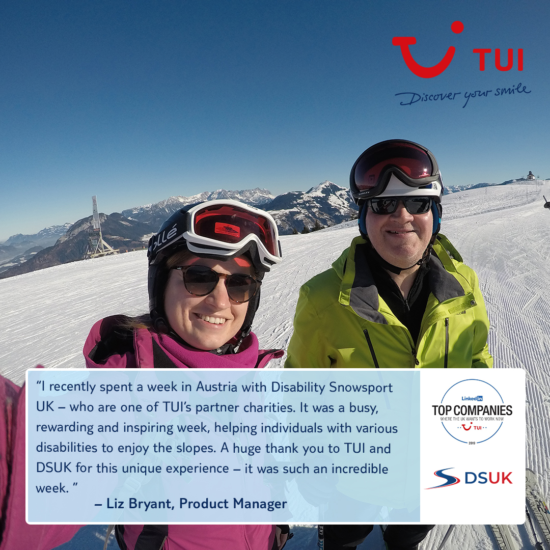 Each year TUI colleagues volunteer their time with @dsuksnowsport. DSUK is an inspirational charity that makes skiing accessible for everyone. Their instructors and volunteers help thousands of people of all ages and any form of disability enjoy the mountains. https://t.co/PbHzLjHmKb