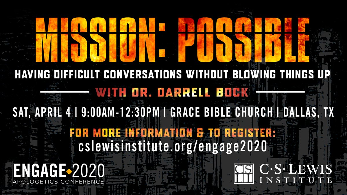"""Join us April 4 as @DBockDTS helps us engage our """"Culture of Contempt"""" in ways that both promote the Gospel we believe and honor the relationships with which God has blessed us! #CSLI   Click to register: https://t.co/0Yon0lD2Zx https://t.co/lt6tNRVzoD"""
