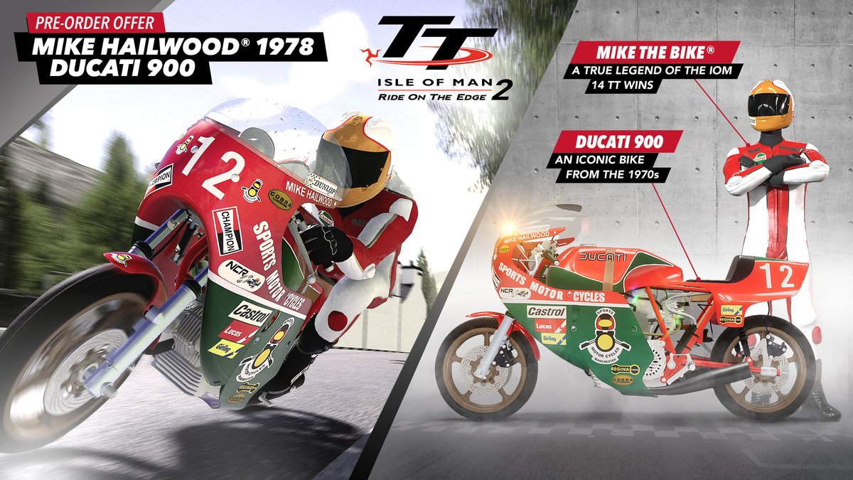 Experience vintage racing with the addition of classic bikes to TT Isle of Man 2! Reign in the Norton NRS 588, Suzuki XR69, Yamaha TZ 750, and more on March 19th.   If you pre-order TT2, you'll receive Mike Hailwood as a rider and his iconic Ducati 900. https://t.co/fa6uDgUKkL https://t.co/n7pd1XadTd
