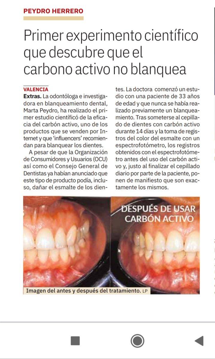 ¿El carbón activo blanquea los dientes? Marta Peydro ha demostrado que NO  @lasprovincias se hace eco de nuestro experimento científico en su versión en papel  #blanqueamientodental #valencia #clinicaPeydro https://t.co/NpqQm4U7LF
